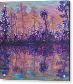 Contemporary Nature Painting Tropical Lake Sunset Acrylic Print