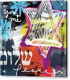 Contemporary Peace Star- Judaic Art By Linda Woods Acrylic Print