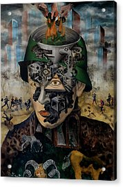 Acrylic Print featuring the painting Contemporary War by Obie Platon