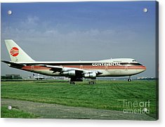 Continental Airlines Boeing 747-243b, N605pe, October 1988 Acrylic Print