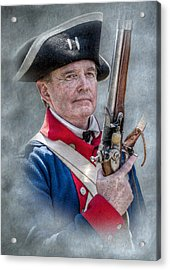 Continental Soldier Portrait Acrylic Print by Randy Steele