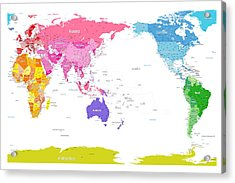 Continents World Map Acrylic Print by Michael Tompsett
