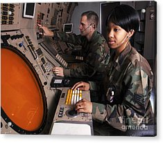 Control Technicians Use Radarscopes Acrylic Print by Stocktrek Images