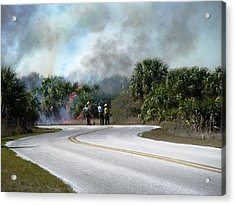 Controlled Burn Acrylic Print by Peter  McIntosh