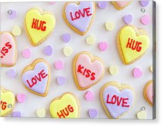Acrylic Print featuring the photograph Conversation Heart Cookie Love by Teri Virbickis