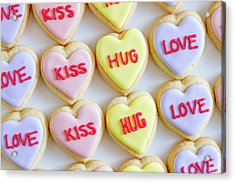 Acrylic Print featuring the photograph Conversation Heart Decorated Cookies by Teri Virbickis