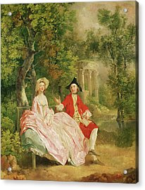 Conversation In A Park Acrylic Print by Thomas Gainsborough