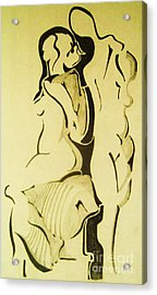 Conversation Of Two Nudes  Acrylic Print by Reb Frost