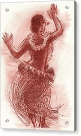 Cook Islands Drum Dancer From The Back Acrylic Print