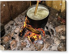 Cooking Fires In A Black Iron Pot Acrylic Print by Oleksandr Masnyi
