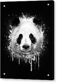 Cool Abstract Graffiti Watercolor Panda Portrait In Black And White  Acrylic Print by Philipp Rietz