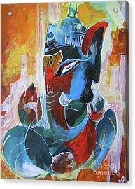 Cool And Graphical Lord Ganesha Acrylic Print by Chintaman Rudra