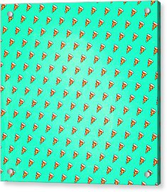 Cool And Trendy Pizza Pattern In Super Acid Green   Turquoise   Blue Acrylic Print by Philipp Rietz