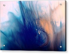 Cool Blue Liquid Abstract Art Fluid Painting By Kredart Acrylic Print by Serg Wiaderny