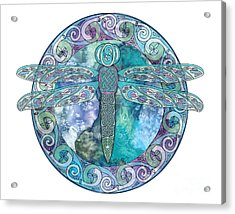Acrylic Print featuring the mixed media Cool Celtic Dragonfly by Kristen Fox