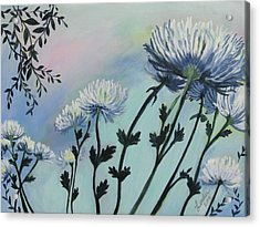Cool White Spider Mums Acrylic Print