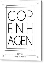 Copenhagen City Print With Coordinates Acrylic Print