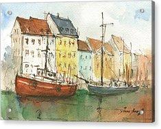 Copenhagen Harbour With Boats Acrylic Print