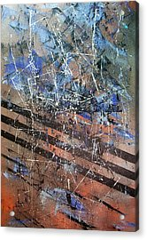 Copper To Blue Abstract Acrylic Print by Lynda McDonald