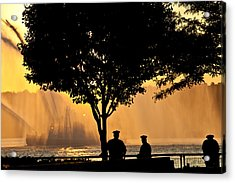 Cops Watch A Fireboat On The Hudson River Acrylic Print by Chris Lord