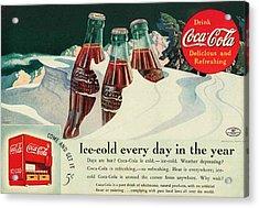 Copy Of A 1925 Coca Cola Ad Acrylic Print by Walter Colvin