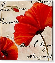 Coquelicots Rouge II Acrylic Print by Mindy Sommers