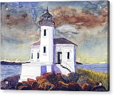 Acrylic Print featuring the painting Coquille Lighthouse Watercolor by Chriss Pagani