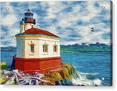 Acrylic Print featuring the painting Coquille River Lighthouse by Jeff Kolker