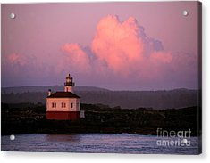 Coquille River Lighthouse Sunset Acrylic Print