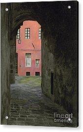 Coral Corridor Siena Italy Acrylic Print by Kelly Borsheim