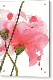 Acrylic Print featuring the painting Coral Poppies by Dawn Derman