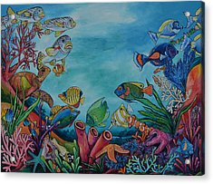 Acrylic Print featuring the painting Coral Reef by Patti Schermerhorn