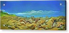 Acrylic Print featuring the photograph Corfu 3 - Surreal Rocks by Leigh Kemp