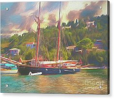 Acrylic Print featuring the photograph Corfu 35 Tall Ship In Paxos by Leigh Kemp