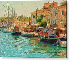 Acrylic Print featuring the photograph Corfu 39 - Boats Paxos by Leigh Kemp