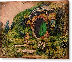 Corgi At Hobbiton Acrylic Print by Kathy Kelly