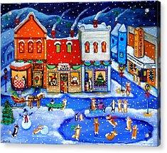Corgi Christmas Town Acrylic Print