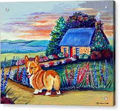 Corgi Cottage Sunrise Acrylic Print by Lyn Cook