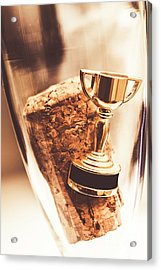Cork And Trophy Floating In Champagne Flute Acrylic Print by Jorgo Photography - Wall Art Gallery