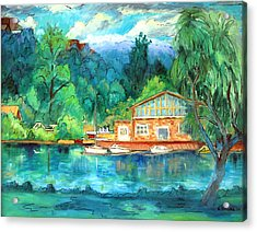 Cornell Boathouse Acrylic Print by Ethel Vrana