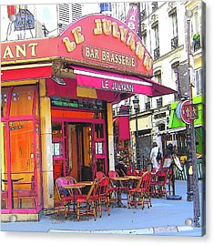 Corner Cafe In Montmartre Paris Acrylic Print by Jan Matson