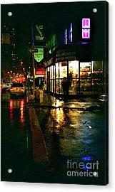 Corner In The Rain Acrylic Print by Miriam Danar