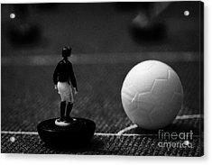 Corner Kick Football Soccer Scene Reinacted With Subbuteo Table Top Football Players Game Acrylic Print by Joe Fox