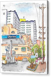 Corner La Cienega Blvd. And Hallway, Chevron Gas Station, West Hollywood, Ca Acrylic Print