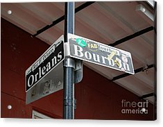 Corner Of Bourbon Street And Orleans Sign French Quarter New Orleans Acrylic Print by Shawn O'Brien