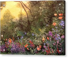 Corner Of The Garden Acrylic Print by Connie Tom