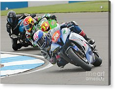 Cornering Motorcycle Racers Acrylic Print by Peter Hatter
