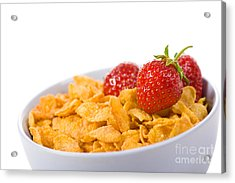 Cornflakes With Three Fresh Strawberries In Bowl  Acrylic Print by Arletta Cwalina
