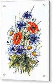 Cornflower, Poppy And Ox Eye Daisy Acrylic Print