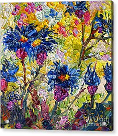 Acrylic Print featuring the painting Cornflowers Impressionist Oil Painting by Ginette Callaway
